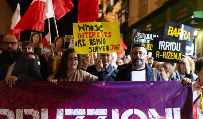 Anti-corruption protest underway in Valletta